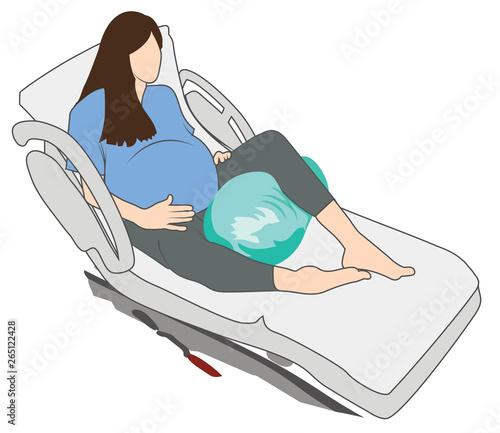 Fotografia Pregnant woman in Pregnancy labor position w peanut ball on bed
