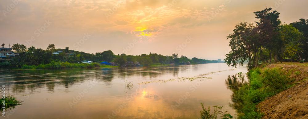 Fototapety, obrazy: Sunrise over the river Kwai, Kanchanaburi, Thailand. Panorama