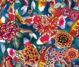 Wzór z karpiem i .sakura. Ręcznie rysowane akwarela ilustracji z kwiatami koi i sakura - 265127650