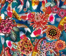 Seamless Pattern With Carp, And .sakura. Hand-drawn Watercolor Stock Illustration With Koi, And Sakura Flowers