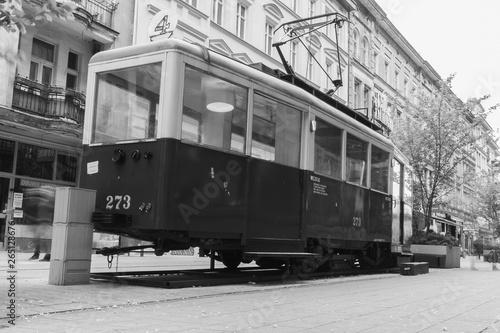 Old city train wagon on the street od Poznań city turned into a retro cafe