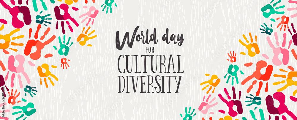 Fototapeta Cultural Diversity Day banner of color human hands