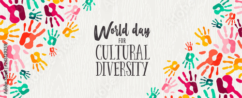 Cultural Diversity Day banner of color human hands Fototapet
