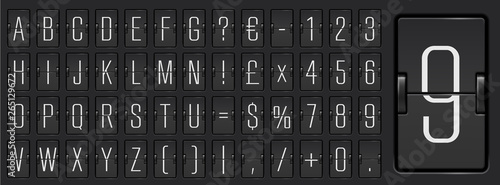 Airline flip board light alphabet to display departure information and timetable Wallpaper Mural