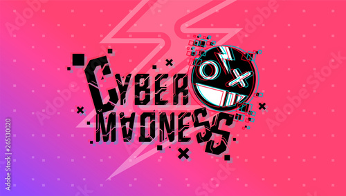 Photo Cyber madness Creative logo. Vector template for web and print.