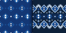 Set Of Ethnic Seamless Patterns In Ikat Style. Tribal Embroidery. Folklore Design For Clothing, Carpet, Wallpaper, As An Element Of Decor, Etc.