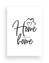Wall Decals Vector, Home Sweet Home, House With Heart Illustration, Wording Design, Lettering Design, Art Decor, Illustration Isolated On White Background