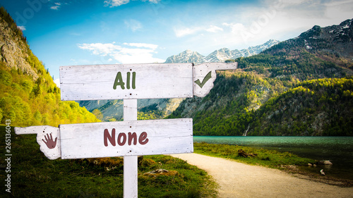 Obraz Street Sign the Direction Way to All versus None - fototapety do salonu