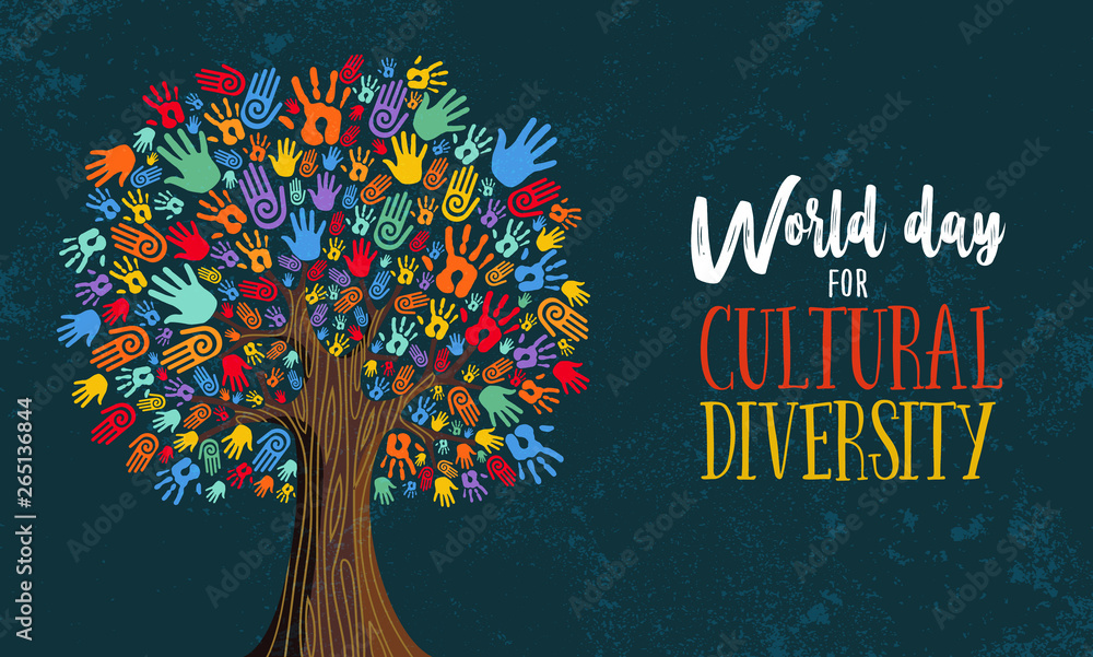 Fototapety, obrazy: Cultural Diversity Day tree hand concept illustration