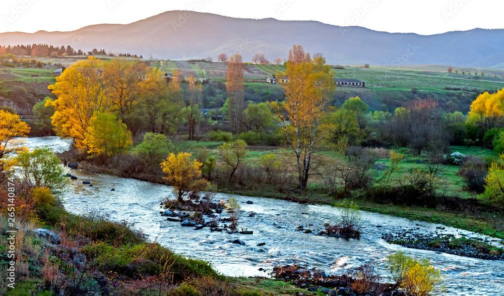 Fototapety, obrazy: River Hrazdan and mountain ridge in Armenia.
