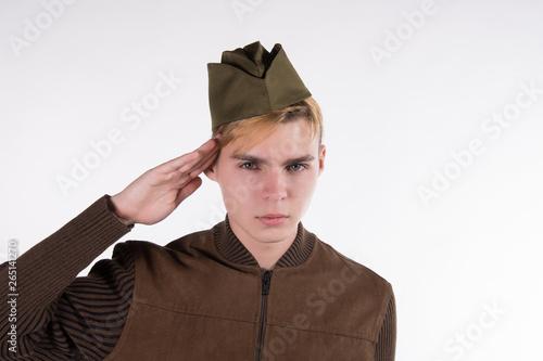 Obraz na płótnie Soldier of the Red Army. White background.