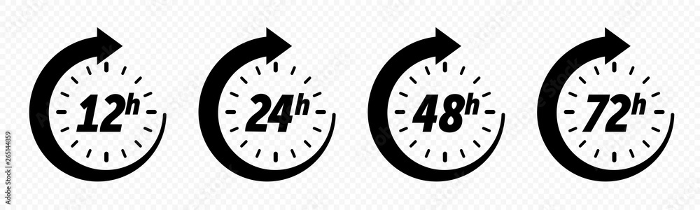 Fototapety, obrazy: 12, 24, 48 and 72 hours clock arrow, deodorant work time effect. Vector delivery service time icons