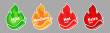 Spicy Chili Pepper Hot Fire Flame Icons. Vector Spicy Food Level Icons, Mild, Medium And Extra Hot Pepper Sauce Fire Flame