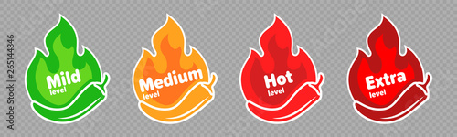 Foto Spicy chili pepper hot fire flame icons
