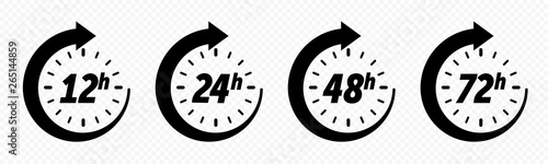 Fotografia, Obraz  12, 24, 48 and 72 hours clock arrow, deodorant work time effect