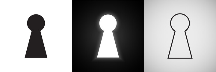 Keyhole vector icons. Door key hole with light glow silhouette and outline symbols