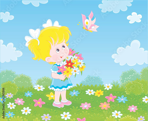 Spoed Foto op Canvas Vogels, bijen Cute little girl with a colorful bouquet of wildflowers looking at a butterfly flittering over a green field on a sunny summer day, vector illustration in a cartoon style