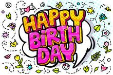 Happy Birthday Word Bubble. Message In Pop Art Comic Style