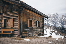 Wooden House In Alpine Mountai...