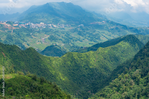 Leinwand Poster  Panoramic view of mountain tops in Vietnam