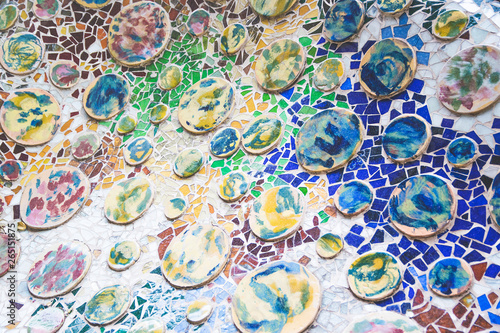 Mosaic and ceramic geometry in a colorful modernist wall in Barcelona Canvas Print
