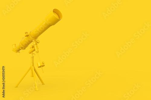 Stampa su Tela  Yellow Modern Mobile Telescope on Tripod. 3d Rendering