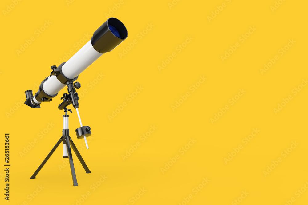 Fototapety, obrazy: White Modern Mobile Telescope on Tripod. 3d Rendering