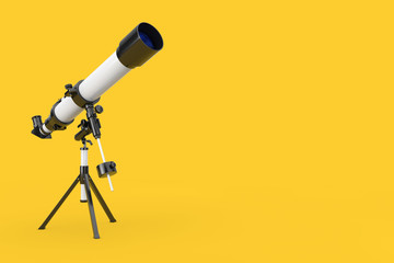 White Modern Mobile Telescope on Tripod. 3d Rendering