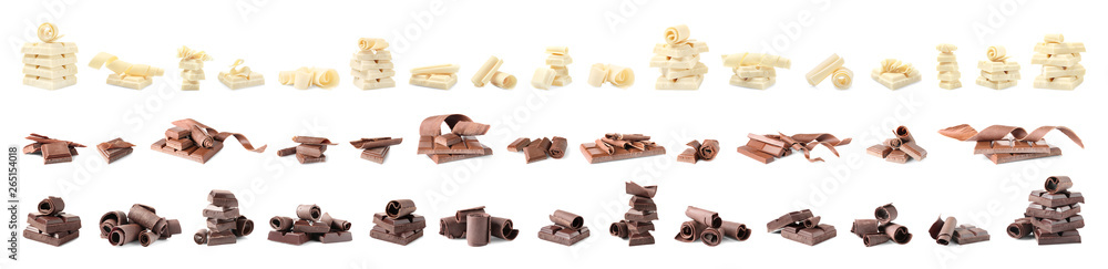 Fototapety, obrazy: Set of different delicious chocolate curls and pieces on white background