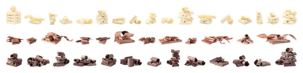 Komplet različitih ukusnih čokoladnih kovrča i komada na bijeloj pozadini