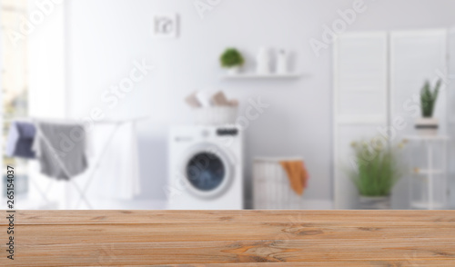Laundry room interior with washing machine near wall Wallpaper Mural