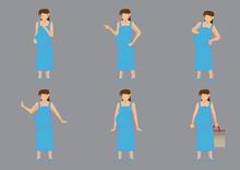 Pregnant Woman Vector Cartoon Character Illustration Set