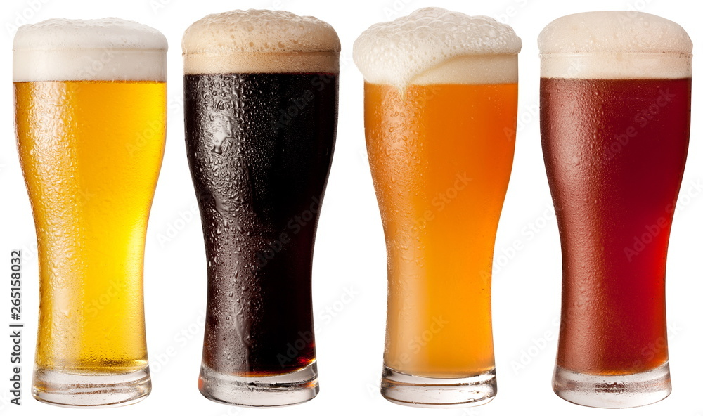 Fototapety, obrazy: Four glasses with different beers