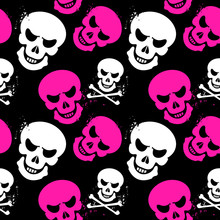 Scary Girlish Seamless Pattern Background With Skulls And Crossbones, The Drawing Contains Only Three Colors, Ideal For Print, Textile, Web, And Other Designs, Eps10 Vector Illustration
