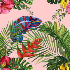 Watercolor tropical wildlife seamless pattern. Hand Drawn jungle nature, chameleon, hibiscus flowers illustration