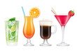 Summer cocktails realistic. Alcoholic drinks in glasses with ice tropical fruits irish coffee vodka margarita mojito colored vector. Acohol drink mojito cocktail, beverages bar illustration