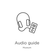 Audio Guide Icon Vector From Museum Collection. Thin Line Audio Guide Outline Icon Vector Illustration. Outline, Thin Line Audio Guide Icon For Website Design And Mobile, App Development.
