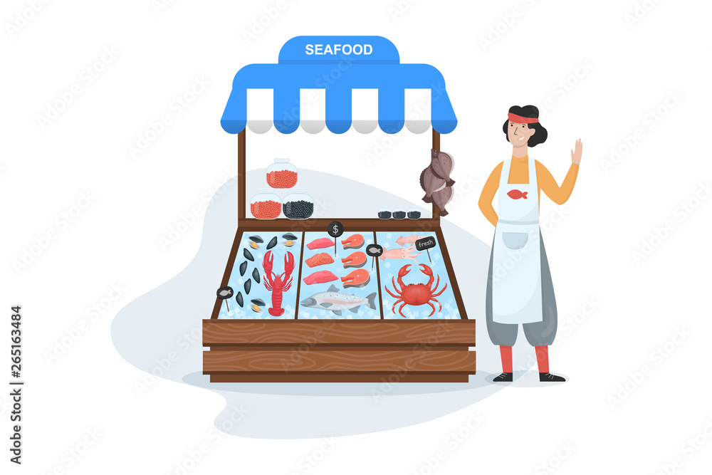Fototapety, obrazy: Fish market concept. Seafood in ice. Salmon and tuna