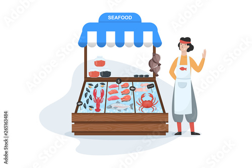 Fish market concept. Seafood in ice. Salmon and tuna