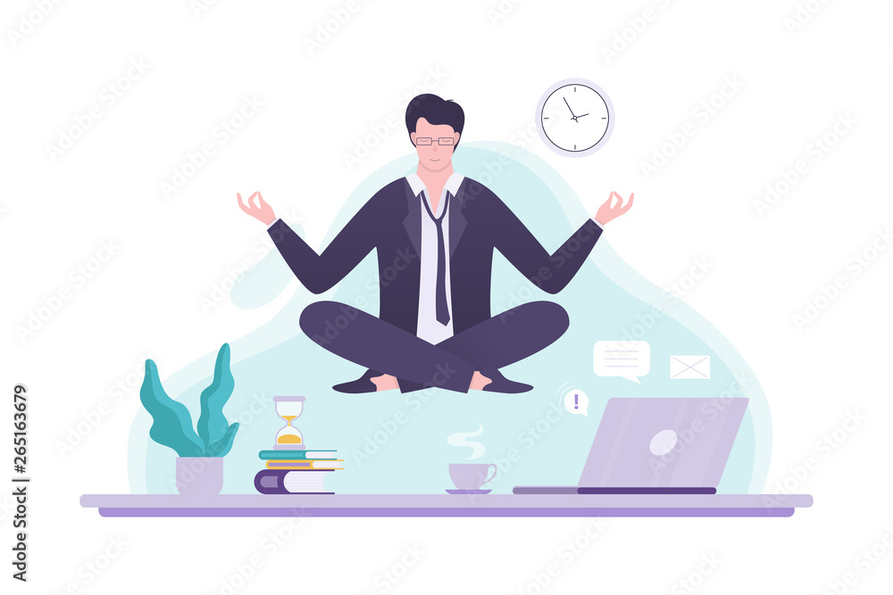 Fototapeta Office worker in yoga pose. Meditation on the work