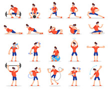 Man Doing Various Sport Exerci...