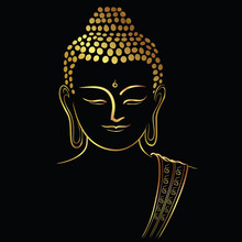 Golden Buddha Head With Golden Border Element Isolate On Black