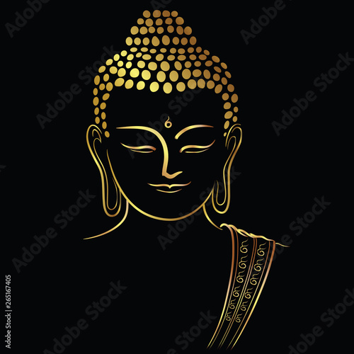 Fotografija Golden buddha head with golden border element isolate on black