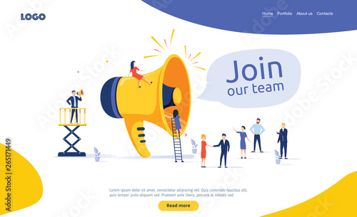 Fotomural Group of people shouting on megaphone Join our team vector illustration concept