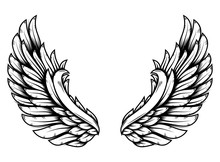 Wings In Tattoo Style Isolated...