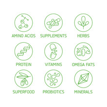 Vector Set Of Logos, Badges And Icons For Natural And Health Products. Collection Symbol Of Healthy Eating And Dieting, Vitamins, Supplements.