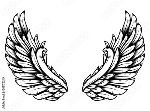 Fototapeta Wings in tattoo style isolated on white background. Design element for poster, t shit, card, emblem, sign, badge. obraz