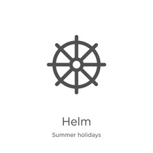Helm Icon Vector From Summer Holidays Collection. Thin Line Helm Outline Icon Vector Illustration. Outline, Thin Line Helm Icon For Website Design And Mobile, App Development.