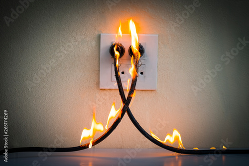 On fire electric wire plug Receptacle wall parion ... Wiring A Plug Outlet on