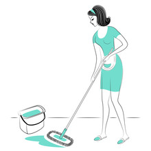 Profile Of A Sweet Lady. The Girl Sweeps The Floor In The Room, A Broom. A Woman Is A Good Wife And A Neat Housewife. Vector Illustration